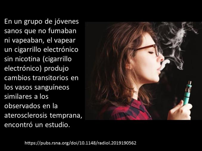 El vapeo -incluso sin nicotina- daña los vasos sanguíneos.
